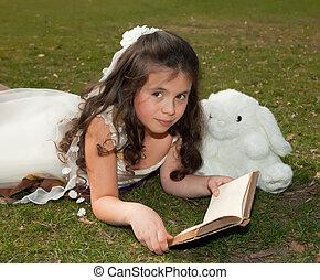 女の子の読書, 草