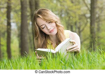 女の子の読書, 草, 本