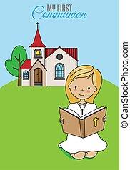 女の子の読書, card., behind., 聖餐, 最初に, 聖書, 教会