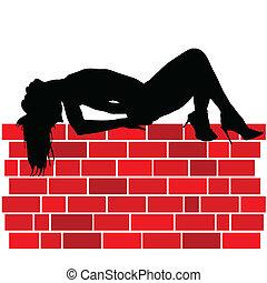 女の子, あること, 上に, 壁