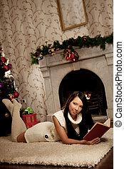 女の子, あること, 近くに, ∥, 暖炉, そして, 読む, a, 本