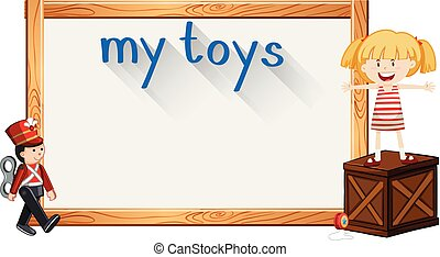 女の子, おもちゃ, ボーダー, テンプレート