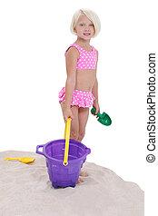 女の子, おもちゃ, 子供, 砂