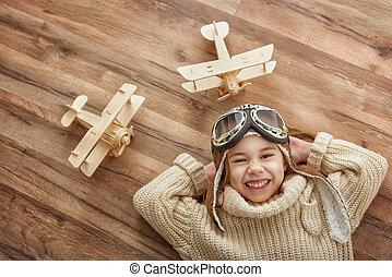 女の子, おもちゃ, 遊び飛行機