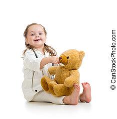 女の子, おもちゃ, 遊び, 子供, 医者