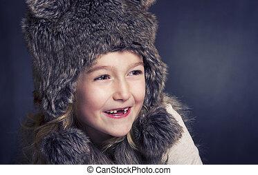 女の子, おや, 毛皮, 冬, 若い