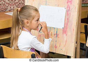 女の子, かく, 鼻, 聞くこと, へ, ∥, 教師, 慎重に, ∥において∥, 図画, レッスン
