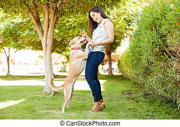 女の子, かなり, 犬, 彼女, 遊び