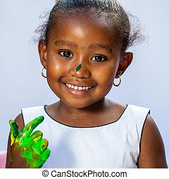 女の子, かわいい, アフリカ, 手。, ペイントされた