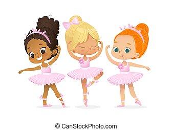 女の子, かわいい, ダンサー, セット, バレリーナ, 訓練, 特徴