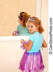 女の子, かわいい, 衣装, 王冠
