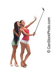 女の子, しなさい, selfie, 中に, ∥, studio.