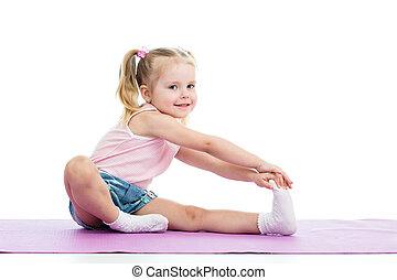 女の子, すること, フィットネス, 練習