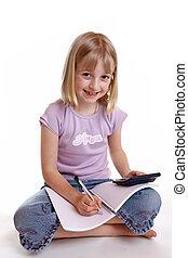 女の子, すること, 宿題