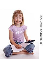 女の子, すること, 宿題, 2