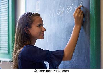 女の子, すること, 数学, 練習, ∥において∥, 黒板, 中に, 高校, クラス