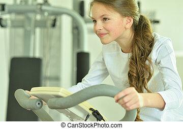女の子, すること, 練習