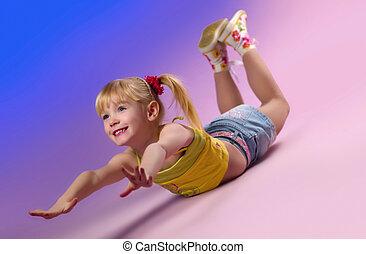 女の子, すること, exercises.