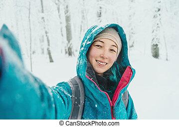 女の子, すること, selfie, 中に, 冬