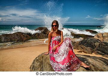女の子, そして, ∥, 海洋, sri lanka