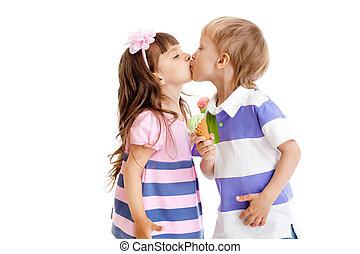 女の子, そして, 男の子, ありなさい, 接吻, ∥で∥, アイスクリーム, 中に, 手, 隔離された