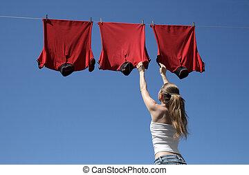 女の子, そして, 赤, 洗濯物