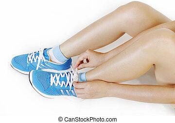 女の子, つらい, 靴, 動くこと