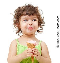 女の子, ∥で∥, アイスクリーム, 中に, スタジオ, 隔離された