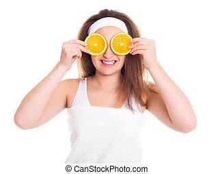 女の子, ∥で∥, オレンジ, に薄く切る, 上に, 彼女, 目