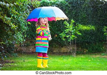 女の子, ∥で∥, カラフルである, 傘, 遊び, 中に, ∥, rain.