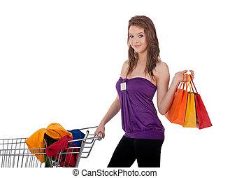 女の子, ∥で∥, カラフルである, 買い物袋, 購入クロス