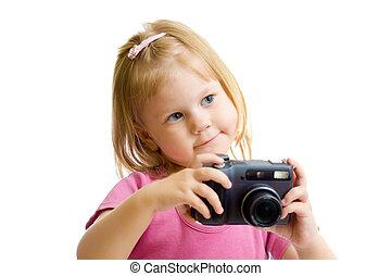 女の子, ∥で∥, デジタルカメラ, 隔離された