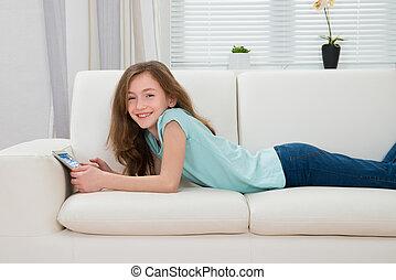 女の子, ∥で∥, デジタルタブレット, 中に, 反響室
