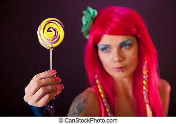 女の子, ∥で∥, ピンクの髪, 保有物, lollipop