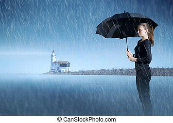 女の子, ∥で∥, ∥, 傘, 地位, 中に, ∥, もや, 上に, ∥, 海洋, 夜で, 雨, 上に, ∥, 背景, の, ∥, lighthouse.