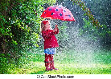 女の子, ∥で∥, 傘, 遊び, 雨