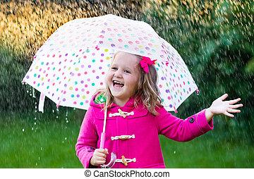 女の子, ∥で∥, 傘, 雨