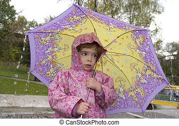 女の子, ∥で∥, ∥, 傘, 雨