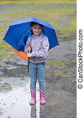 女の子, ∥で∥, ∥, 傘, 雨, 遊び