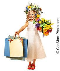 女の子, ∥で∥, 花, hairstyle.