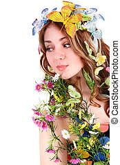 女の子, ∥で∥, 蝶, そして, flower.