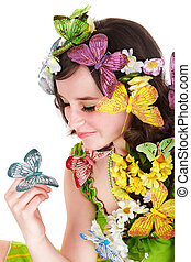 女の子, ∥で∥, 蝶, そして, flower., 春, hair.