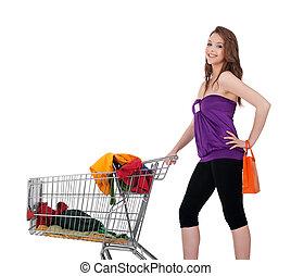 女の子, ∥で∥, 買い物カート, 購入クロス