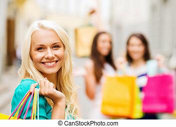 女の子, ∥で∥, 買い物袋, 中に, 都市
