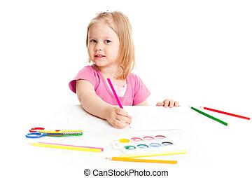 女の子, ∥で∥, 赤い鉛筆, 隔離された