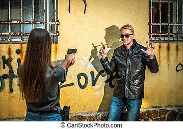 ∥, 女の子, ∥で∥, ∥, 銃, 手掛かり, 上に, ∥, 光景, の, a, batcher, だれのか, ナイフ, ある, 中に, 彼女, 手。, a, cold-robed, 凶悪犯, wants, 攻撃するため, a, 女