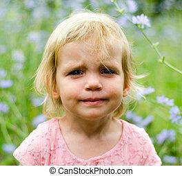 女の子, ∥で∥, a, かわいい, grumpy, 顔, 表現