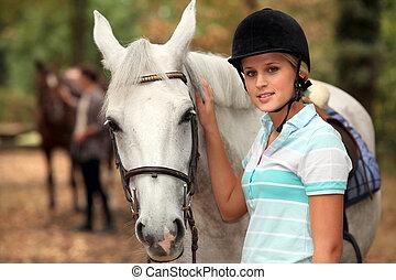 女の子, なでること, 白い馬