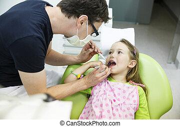女の子, ∥において∥, 彼女, 歯科医, オフィス