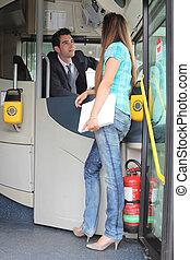 女の子, に話すこと, バスの運転手